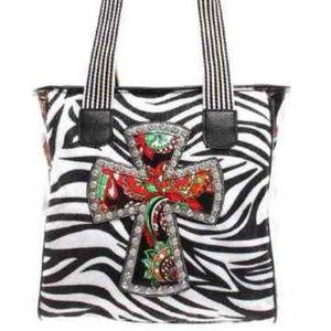 Cross tote bag/zebra stripe